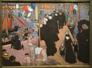 M. Denis, Régate à Perros-Guillec, Vues de la jetée Ouest (Huile sur carton maroufé sur panneau parqueté, 1897)